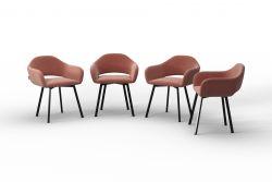 Set Of 4 Chairs Oldenburg | Powder Pink-Velvet Touch