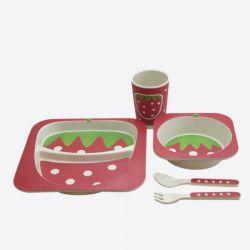 Kindergeschirr 4er-Set | Erdbeere