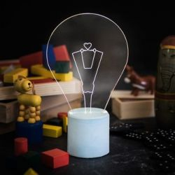 Exposed Bulb Table Lamp | Light Blue Heart