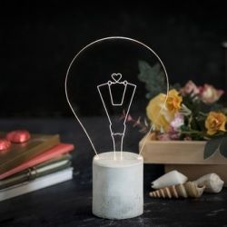 Exposed Bulb Table Lamp | Grey Heart