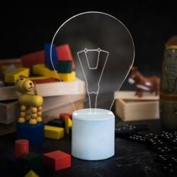 Exposed Bulb Table Lamp | Light Blue