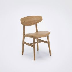 Siko Dining Chair | Beige Leather & Oak
