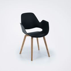Falk Dining Chair with Armrest | Black / Oak