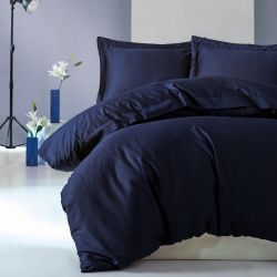 Duvet Cover Elegant 200 x 200 cm / Pillow Cover 80 x 80 cm | Dark Blue