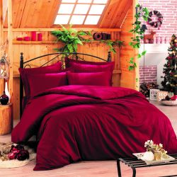 Bettbezug Stripe 200 x 200 cm / Kissenbezug 80 x 80 cm | Rot