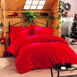 Duvet Cover Elegant 240 x 220 cm / Pillow Cover 50 x 80 cm | Red