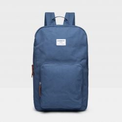 Backpack KIM | Dusty Blue with Cognac Brown Leather
