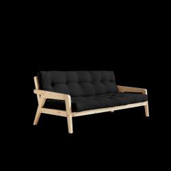 Sofabed-Greifer | Natürlicher Rahmen + dunkelgraue Matratze