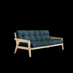 Sofabed-Greifer | Natürlicher Rahmen + Benzinblaue Matratze
