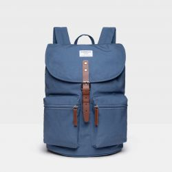 Backpack ROALD | Dusty Blue with Cognac Brown Leather