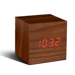 Cube Click Clock | Walnut & Red