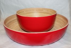 Bamboo Salad Bowl Red
