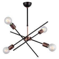 Metallkronleuchter Gera | 4 Lichter | Kupfer Schwarz
