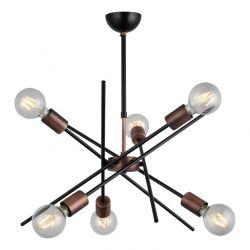 Metallkronleuchter Gera | 6 Lichter | Kupfer Schwarz