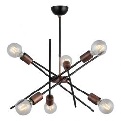 Metal Gera Chandelier | 6 Lights | Copper Black