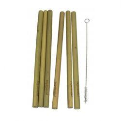 6 Pailles Réutilisables en Bambou + Brosse de Nettoyage