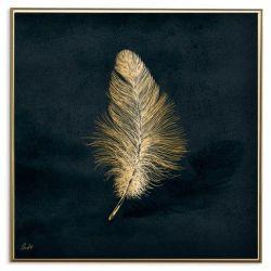 Poster 24K Gold Feather | Dark Blue
