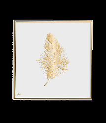 Poster 24K Gold Feather Small | White