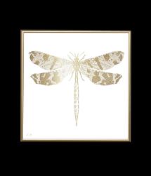 Poster 24K Gold Dragonfly | White