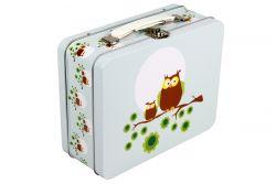 Suitcase Metallic Owl | Light Blue