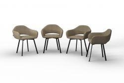 Set Of 4 Chairs Oldenburg | Cream-Linen Touch