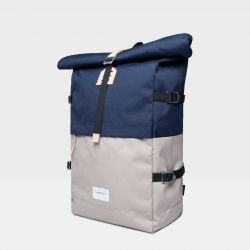 Backpack BERNT | Multi Beige, Navy with Natural Leather