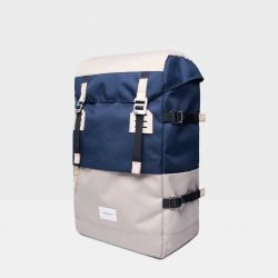 Backpack HARALD | Multi Beige, Navy with Natural Leather