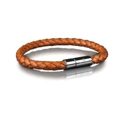 Leather Bracelet 6 mm Steel | Brown