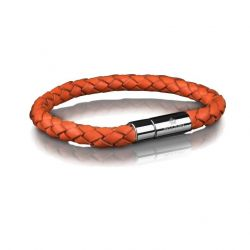 Leather Bracelet 6 mm Steel | Orange