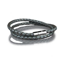 Leather Bracelet 4 mm Steel | Grey