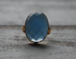 Blauwe Ovale Onyx Ring