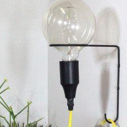 Wandlamp Atom | Zwart + Gele Kabel