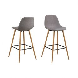 Tabouret de Bar Wendy | Set de 2 | Gris Clair / Bois