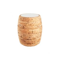 Side Table #1 | Natural Cork + Light Grey Table Top