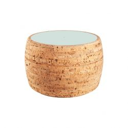 Side Table #3 | Natural Cork + Light Blue Table Top
