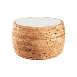 Side Table #4 | Natural Cork + Light Grey Table Top