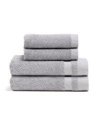 Handtuchset aus wiederverwendeter Baumwolle Aberdeen 4er Set | Grau