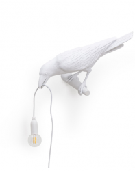 Lamp Bird Looking | White