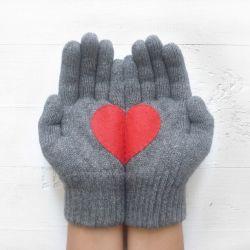 Handschuhe Herz | Stahlgrau & Rot