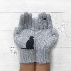Handschuhe Katze & Vogel | Hellgrau