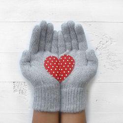 Handschuhe | Hellgrau mit Polka-Punkt-Herz