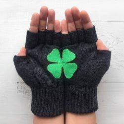 Handschuhe ohne Fingerspitzen | Kleeblatt | Dunkelgrau