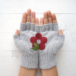 Handschuhe ohne Fingerspitzen Blume | Hellgrau