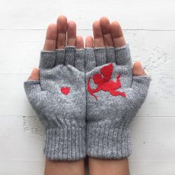Handschuhe ohne Fingerspitzen Cupid & Herz | Grau