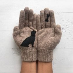 Gloves Dog & Bone | Beige