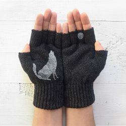 Handschuhe Ohne Fingerspitzen Wolf & Mond | Dunkelgrau