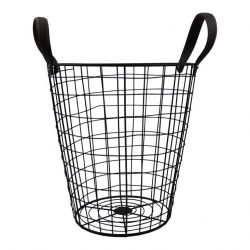 Metal Basket with Brown Handles