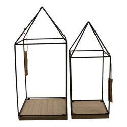 Metal House Planters | Set of 2