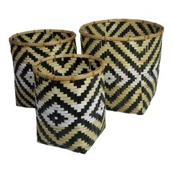 Bamboo Baskets Zig Zag | Set of 3