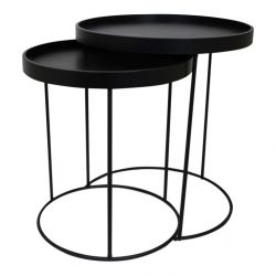 Set of 2 Side Tables Metal | Black
